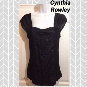 CYNTHIA ROWLEY Black Sequin Top SMALL